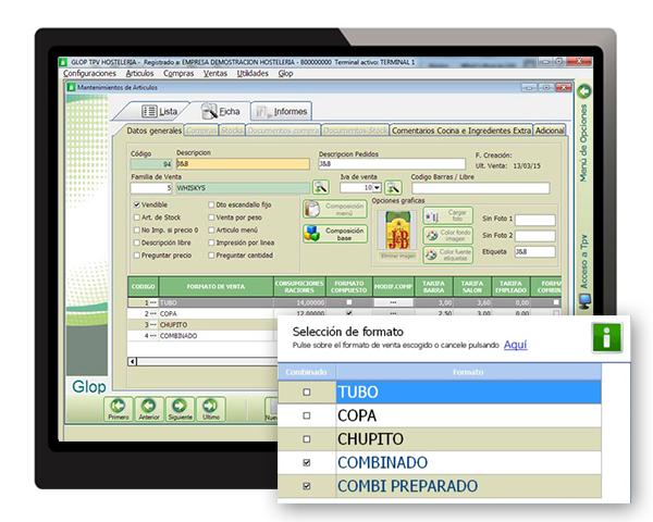 diferentes formatos software tpv glop