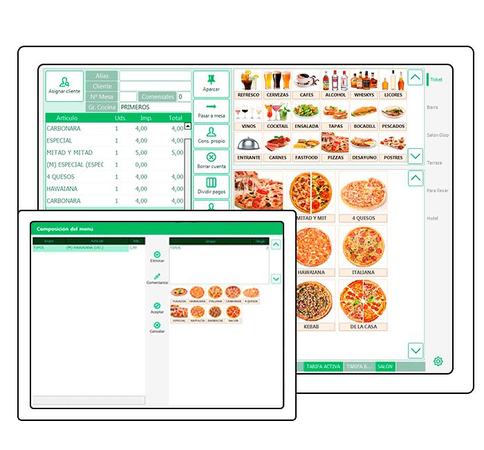 Pantalla software pizzeria